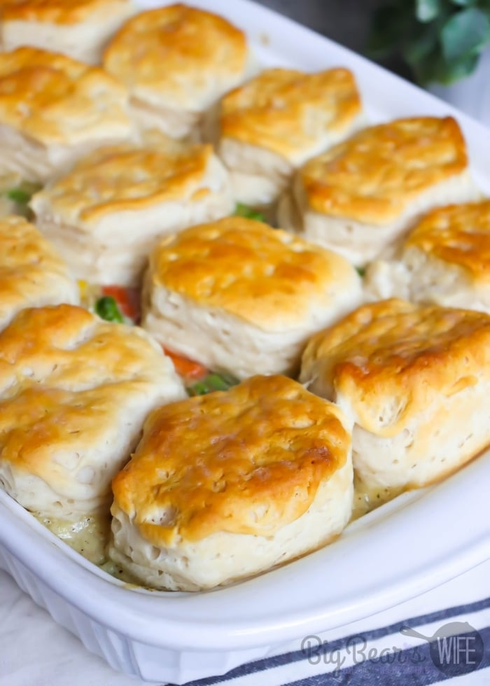 Top View of Biscuit Topped Chicken Pot Pie