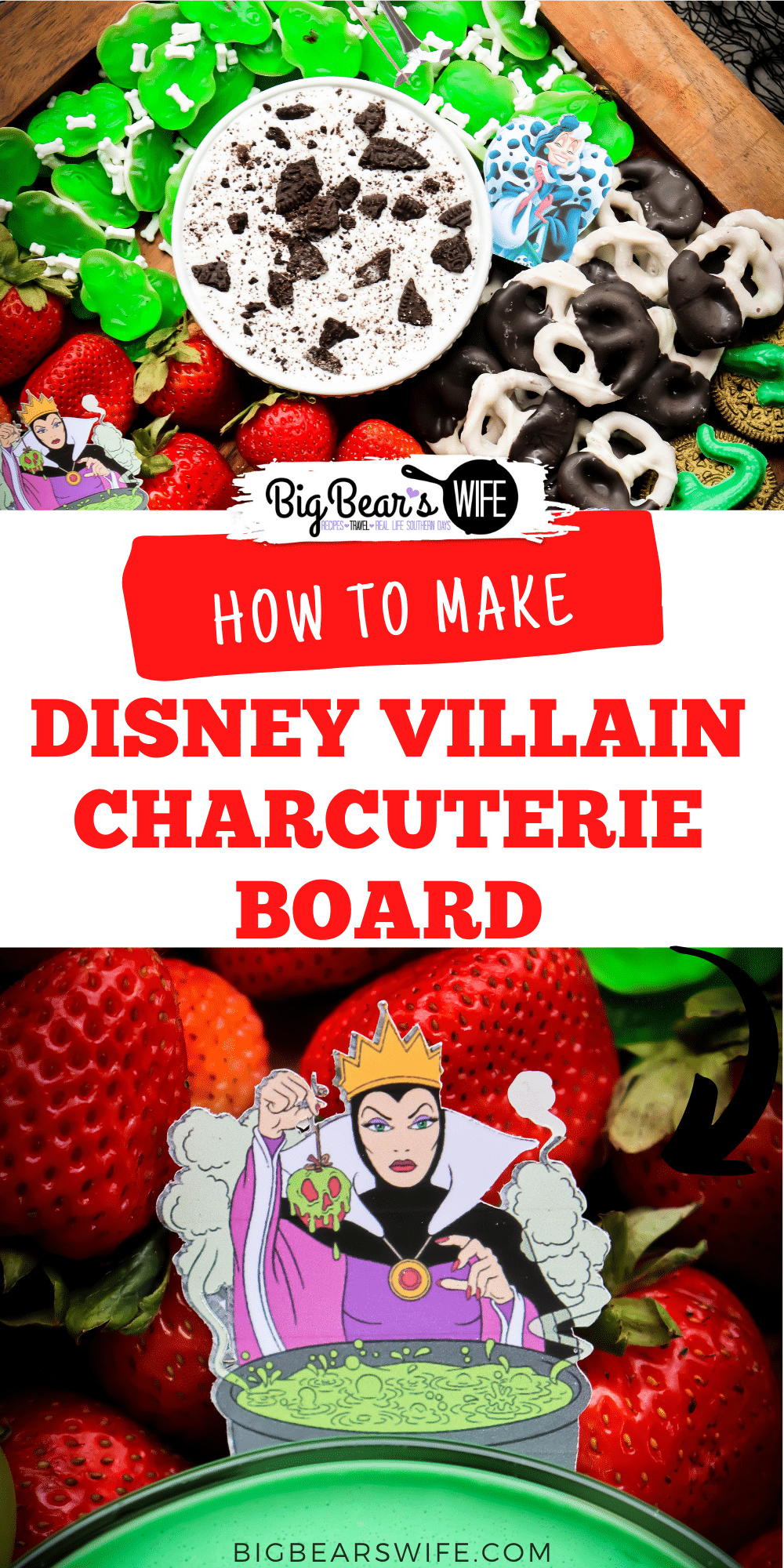 We're celebrating all of the Disney Villains with this Disney Villain Charcuterie Board! It is a fun Disney Snack board to celebrate our favorite Villains for Halloween! via @bigbearswife