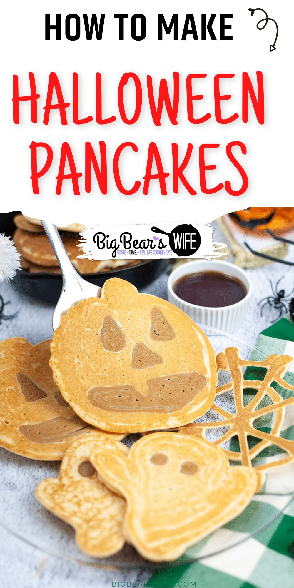 A Halloween breakfast that is perfect for any spooky Monster! These Halloween Pancakes are shaped like ghosts, pumpkins and spiderwebs! via @bigbearswife