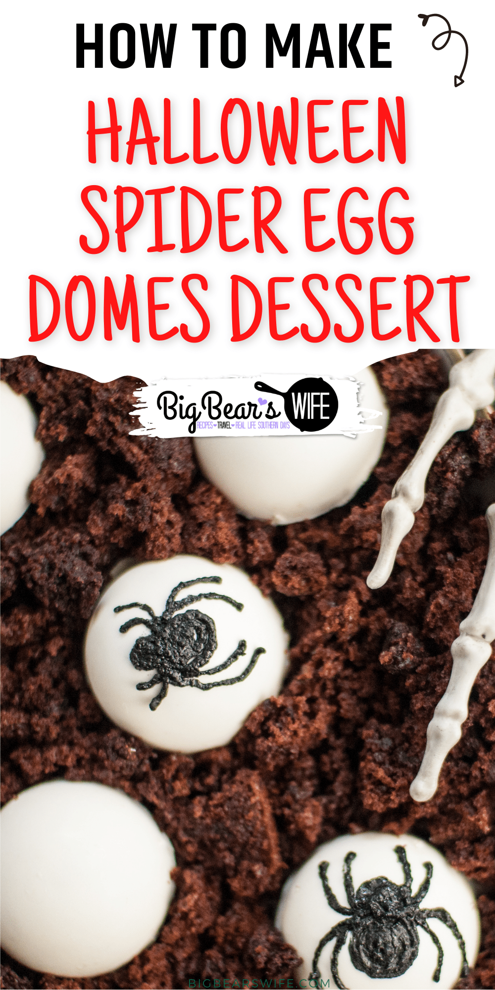 Halloween Spider Egg Domes Dessert - A creepy Halloween dessert, with layers of chocolate cake and dark chocolate mousse! These little bites are covered in white melting chocolate and decorated with black spiders to look like spider eggs. Perfect for Halloween! via @bigbearswife