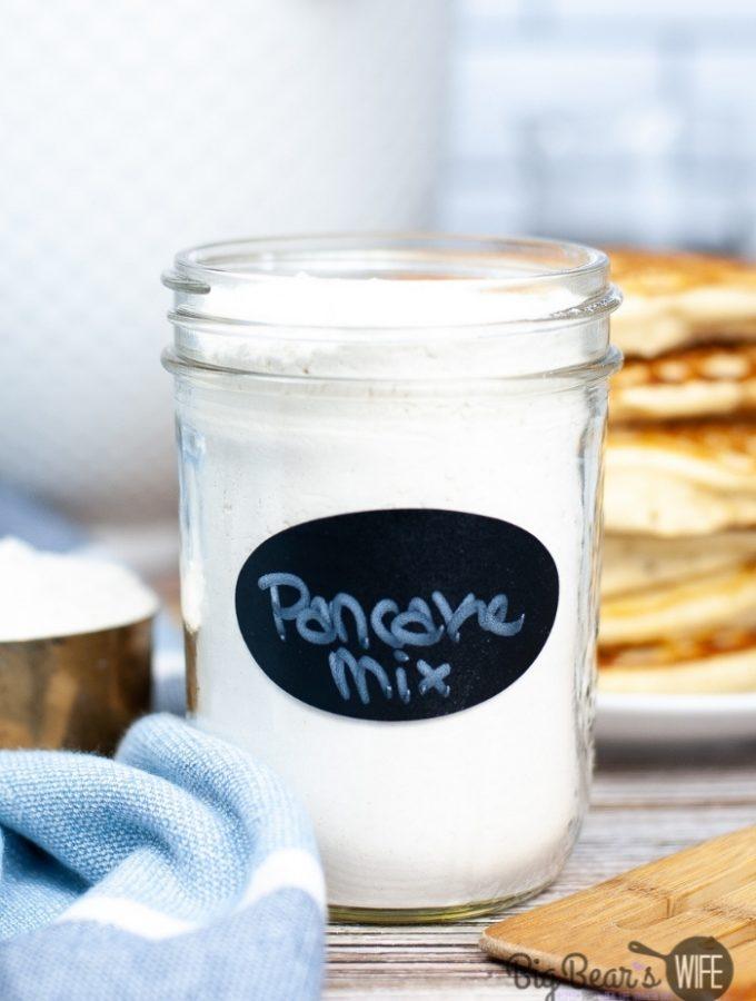 Pancake mix in clear jar