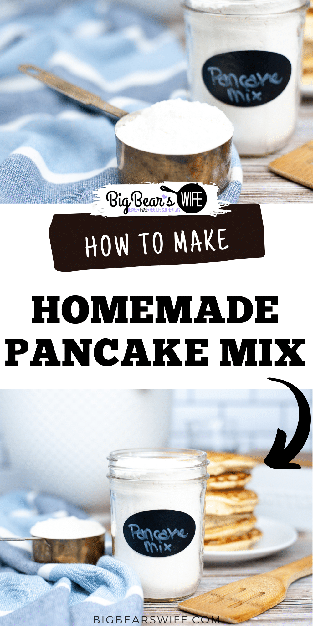 Morning pancakes made with homemade pancake mix is the perfect way to start off the day! This pancake mix is easy to make with simple ingredients and can be stored for about 5-6 months!  via @bigbearswife