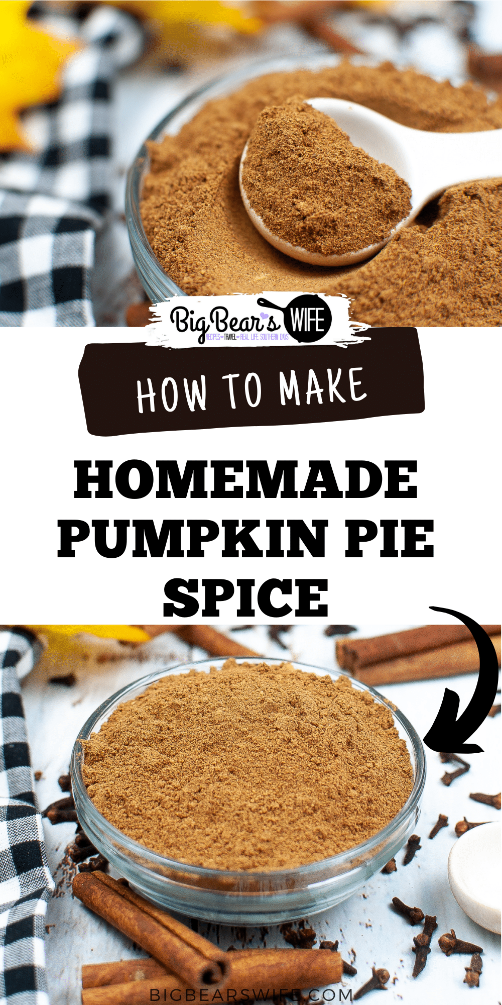 Ginger, Allspice, Cinnamon, Cloves and Nutmeg are whisked together to create a homemade pumpkin pie spice that is perfect for baking and smells amazing!  via @bigbearswife