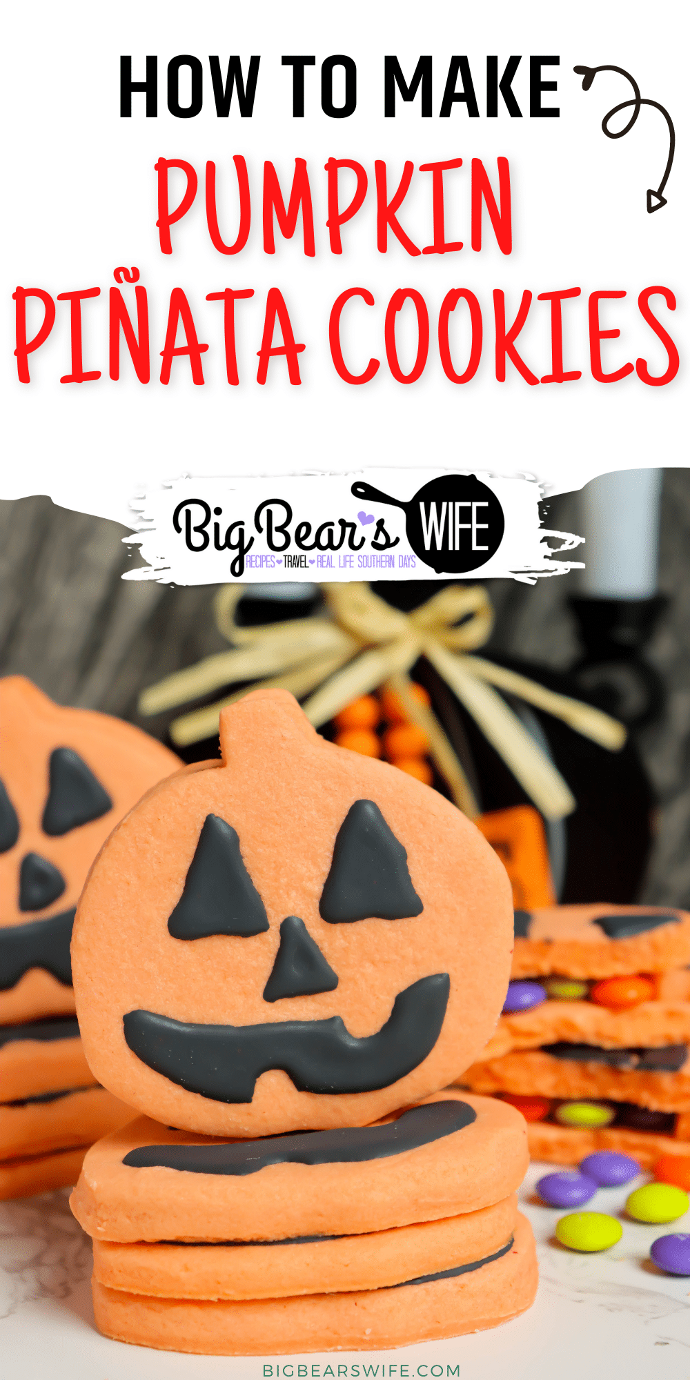 Pumpkin Piñata Cookies - homemade orange sugar cookies stacked together, decorated like Jack-O-Lanterns and filled with Halloween candy!  via @bigbearswife