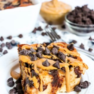 Peanut Butter Chocolate Bread Pudding with melted Peanut butter (1)