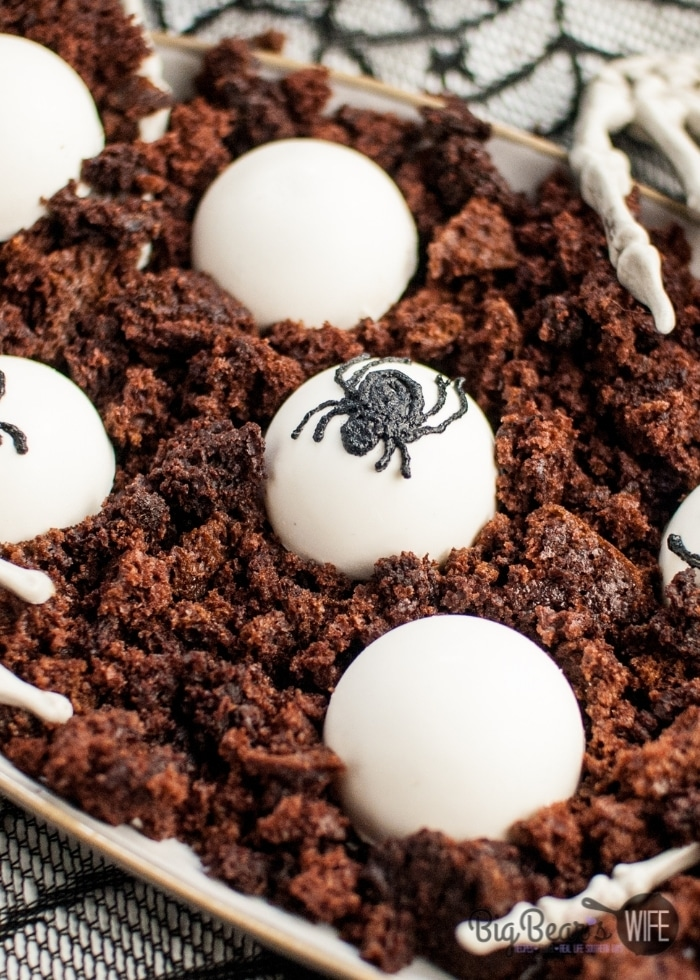 Halloween Spider Egg Domes on crumbled chocolate cake