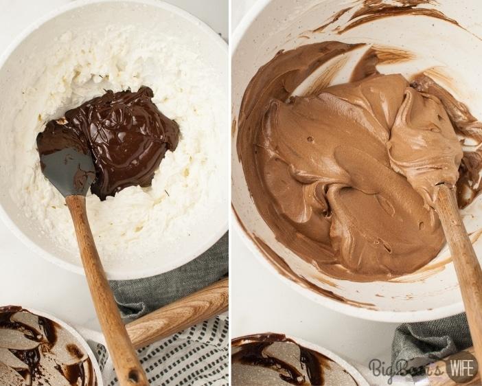 mixing cream and chocolate