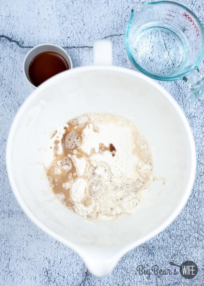mixing pancake ingredients